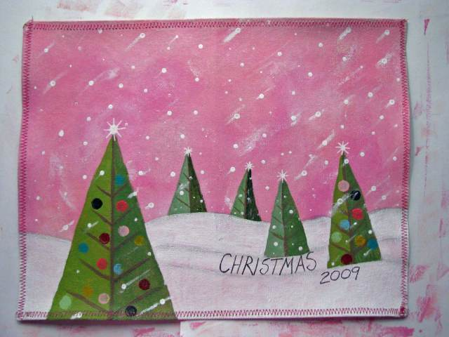 Painted canvas Christmas journal cover