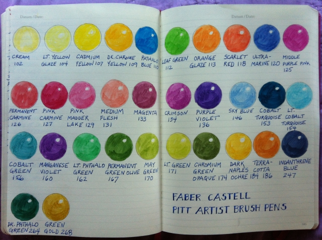 Pitt brush pen color chart